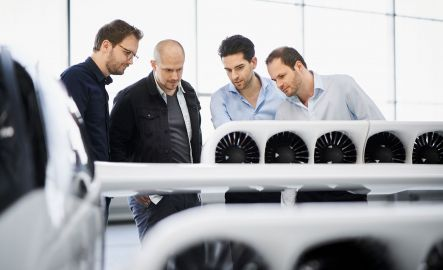 Lilium founders inspecting the engines
