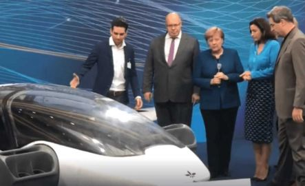 Daniel Wiegand Lilium CEO presents two seater Lilium Jet prototype to Angela Merkel