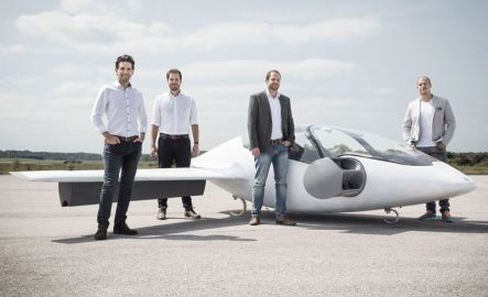 Lilium founders, Daniel Wiegand, Sebastian Born, Matthias Meiner, Patrick Nathen with the two seater Lilium Jet prototype
