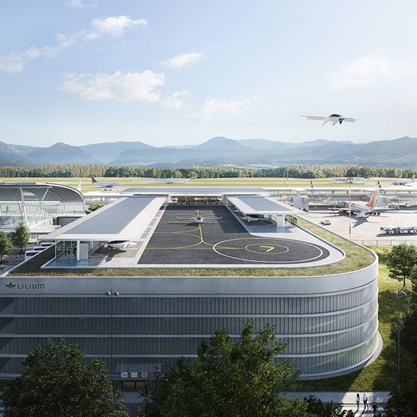A render of a Lilium rooftop vertiport next to an airfield